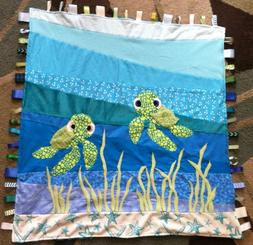 Baby Sea Turtle ~ Ribbon Baby Blanket with Ribbon Tabs 37 X