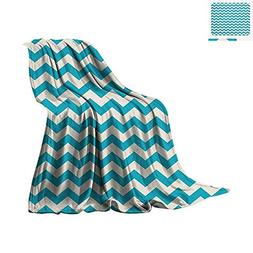 Seafoam Throw Blanket Abstract Geometric Stripes with Chevro