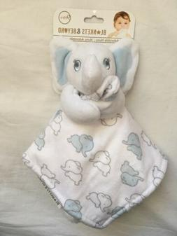 Blankets & Beyond Security Blanket ~ Elephants ~ White, Blue