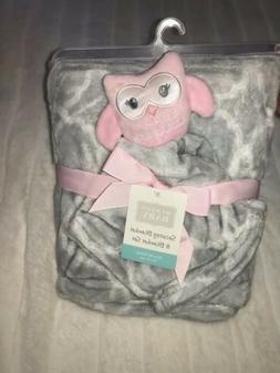 Hudson Baby Security Blanket Lovey & Blanket Set Owl Pink Gr