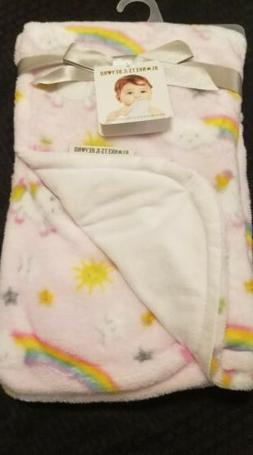 Blankets and Beyond Security Blanket Unicorn Rainbows Pink W