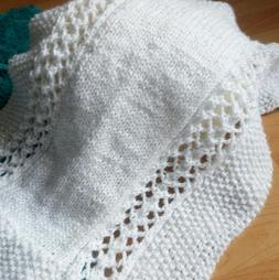 Seed and Lace Blanket Knitting Pattern Easy Baby Blanket Su