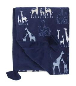 NoJo Serendipity Baby Boy Blanket Safari -Navy Blue - See De