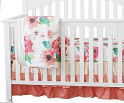 3 pcs Set Boho Floral Ruffle Baby Minky Blanket, Peach Flora