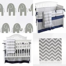 7 Pieces Set Elephant Crib Bedding Baby Set Sweet Navy Grey