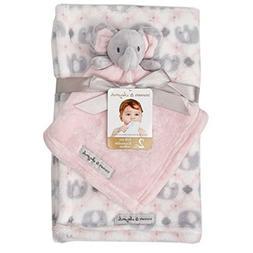 Blankets & Beyond Blanket Set with Pink & Grey Elephant Secu