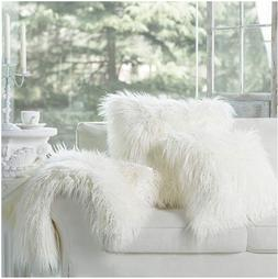 Set Of 2 Off WHITE Decorative Luxury Series Merino Style Fur