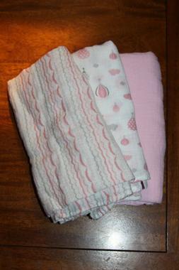 Set of 3 Lollypop Pink Muslin Gauze Baby Receiving Swaddling