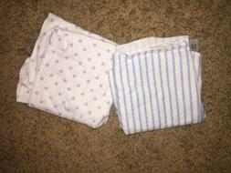 Set Of Two Baby Boy Receiving Blankets
