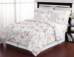 Jojo Shabby Chic Pink Grey Watercolor Floral Teen Girl Full