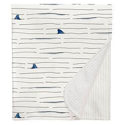 Carousel Designs Shark Fin Stripe Crib Blanket