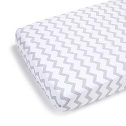 Summer Infant Full Size Crib Sheet, Gray Chevron