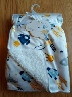 DREAMERS Sherpa Baby Blanket Outer Space Rocketship Planets