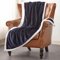 Sherpa Flannel Fleece Reversible Blanket Extra Soft Fabric L