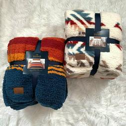 Pendleton Sherpa Fleece Blanket Aztec Southwest Throw Queen