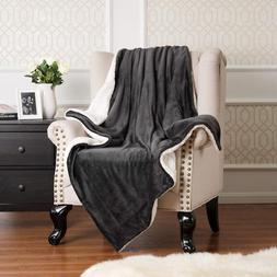 BEDSURE Sherpa Fleece Blanket Throw Size Dark Grey Plush Fuz