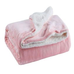 Bedsure Sherpa Fleece Blanket Twin Size Pink Plush Blanket F