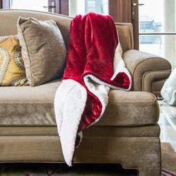 BEDSURE Sherpa Fleece Blanket Twin Size Red Plush Throw Blan