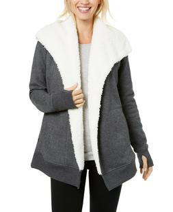 Ideology Sherpa Fleece Lined Wrap Open Cardigan, Charcoal He