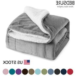 Bedsure Sherpa Blanket Throw Fuzzy Bed Throws Fleece Reversi
