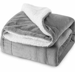 Sherpa Throw Blanket Grey Twin Size 60x80 Bedding Fleece Rev