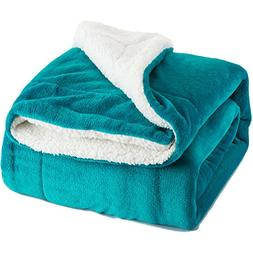Bedsure Sherpa Throw Blanket Teal Throw Size 50x60 Bedding F
