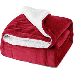 "Sherpa Throw Blanket Red 50""x60"" Reversible Fuzzy Bed Throws"