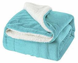 Sherpa Throw Blanket Tiffany Blue Twin Size 60x80 Bedding Fl