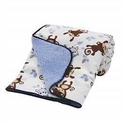 Bedtime Originals Sherpa/Velour Blanket, Mod Monkey