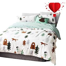 BuLuTu Siberia Forest Theme Boys Duvet Cover Twin Cotton Dar