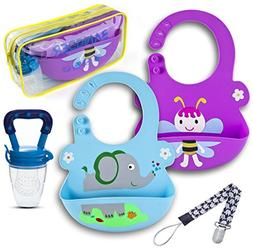 Bangder Silicone Bib Kit + Baby Food Feeder + Pacifier Clip
