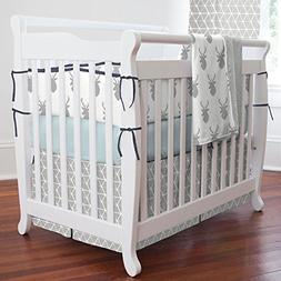 Carousel Designs Silver Gray Deer Head Mini Crib Blanket