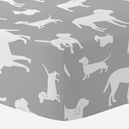 Carousel Designs Silver Gray and White Dogs Crib Sheet - Org