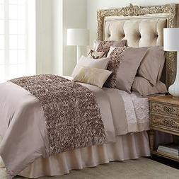 6-Piece Extra Large Silver Grey Duvet Cover Set with 3D Mult
