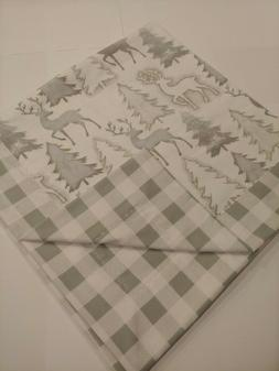 Silver, White Plaid Flannel Double sided Baby blanket, swadd
