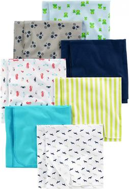 Carter's Baby Boys' 7-Pack Flannel Receiving Blankets New Su