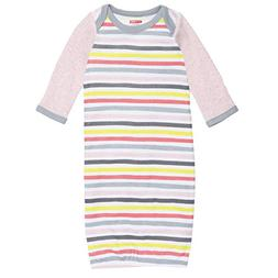 SkipHop Baby Girls' ABC-123 Striped Sleep Gown, Pink, One Si