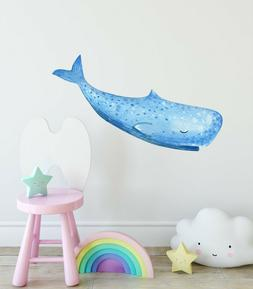 Sleepy Whale Wall Decal Watercolor Wall Sticker Sea Animal O