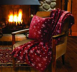 Lady Sandra Home Fashions Snowflake Holiday Throw Blanket An