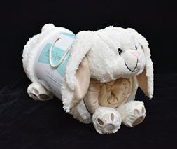 Snuggle Me Sherpa Pets Plush White Bunny 2 Piece Blanket & P