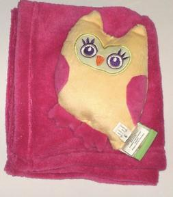 Snuggly Pink Baby Blanket with Plush Toy Owl