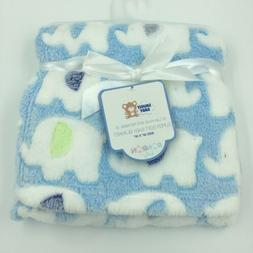 Snugly Baby Plush Blanket Shower Gift Soft 30x30 Blue Green,