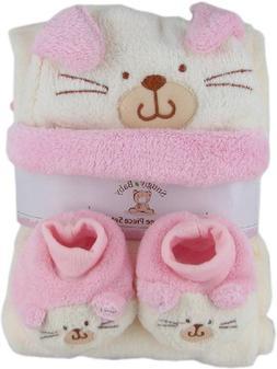 Snugly Baby 3 Pc Set Pink Fleece Baby Blanket w/ Booties & H