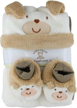 Snugly Baby 3 Pc Set Tan Fleece Baby Blanket w/ Booties & Ha
