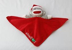 Sock Monkey I Love Santa Red Snuggle Buddy Blanket for Baby