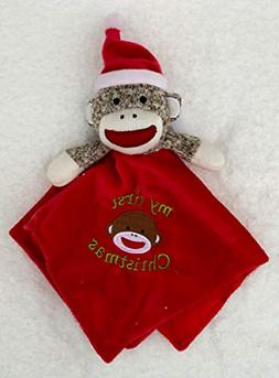 Baby Starters Sock Monkey My First Christmas Red Security Bl