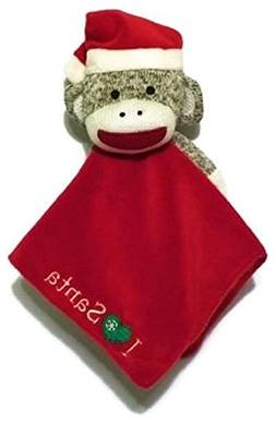 """Baby Starter's """"I LOVE SANTA"""" Sock Monkey Security Blanket -"""