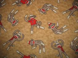 Sock Monkey on Tan Fleece Throw Blanket
