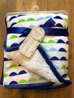 "Zak and Zoey Soft & Snuggly Baby Blanket 30"" x 40"" White Blu"