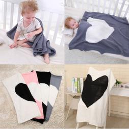 Soft Baby Blanket Cot Bed Pram Basket Comfort Warm Heart Kni